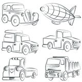 Sketched car, truck set, transportation Royalty Free Stock Image