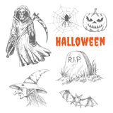 Sketched characters for Halloween decoration Royalty Free Stock Photography