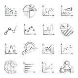 Sketched chart, data chart set. Set of 16 sketched chart, data management concept icons Royalty Free Stock Photography