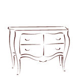 Sketched chest of drawers. Royalty Free Stock Photography