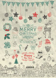 Sketched Christmas Doodle Icons on Crumpled Paper Royalty Free Stock Photos