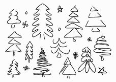 Sketched Christmas trees Royalty Free Stock Photo