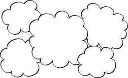 Sketched clouds graphic. White clouds with black outline. Intended as a group of 5 voice clouds of a different sizes with copy space Royalty Free Stock Photography