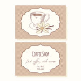 Sketched coffee cup with vanilla flower business Stock Images