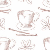 Sketched coffee cup with vanilla flower outline seamless pattern Stock Images