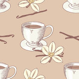 Sketched coffee cup with vanilla flower seamless pattern Royalty Free Stock Photos