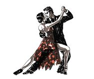 Sketched Dancers. Vector illustration in black, red and white Stock Image