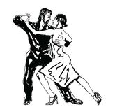 Sketched Dancers. Vector illustration in black Royalty Free Stock Image