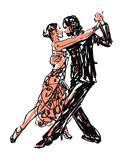 Sketched Dancers. Vector illustration in black and red Stock Photography