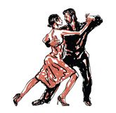 Sketched Dancers. Vector illustration in black and red Royalty Free Stock Image