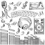 Sketched deejay symbols. Abstract  illustration of some dj symbols Stock Image