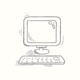Sketched desktop computer icon Royalty Free Stock Photo
