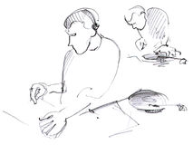 Sketched DJ with headphones, scratching a record on the turntabl Stock Photo