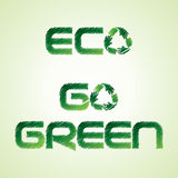 Sketched eco and go green word make by recycle ico Stock Images