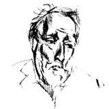 Sketched elder serious gentleman. Stock Photos