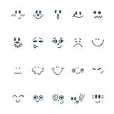 Sketched facial expressions set. Set of hand drawn cute faces wi Royalty Free Stock Photos
