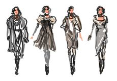 Sketched Fashion Models Royalty Free Stock Photo