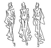Sketched Fashion Models Stock Photos