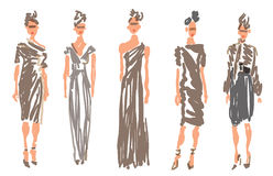 Sketched Fashion Women Models Royalty Free Stock Photo