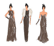 Sketched Fashion Women Models Royalty Free Stock Images