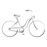 Sketched female bicycle. Royalty Free Stock Image