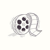 Sketched film reel desktop icon. Doodle design element Stock Photos