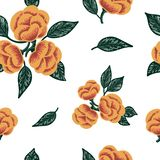 Sketched flower print with unique graphic style. Seamless background vector illustration