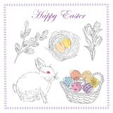 Sketched flowers,rabbit, and easter eggs. Vector hand drawn illustration background. Flyer, booklet advertising and design stock illustration