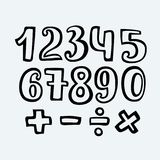 Sketched Free Hand Font Outlines, Numbers and Symbols. Vector cartoon sketched Free Hand outlines Numbers and Symbols. Isolated on white background. Hand drawn stock illustration