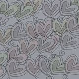 Sketched Heart Pattern. A digitally created abstract pattern made up of hand drawn whimsical love heart shapes stock photo