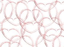 Sketched Hearts on White. A valentine background with red sketched hearts on white Stock Photography