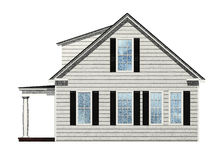 Sketched House. Side view of house isolated on white Stock Photo