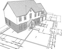 Sketched house on plans Royalty Free Stock Photo