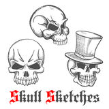 Sketched human skulls for halloween design Royalty Free Stock Photography