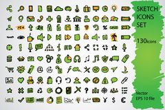 Sketched icon set Royalty Free Stock Photography