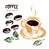 Sketched illustration of  coffee bean. Royalty Free Stock Images