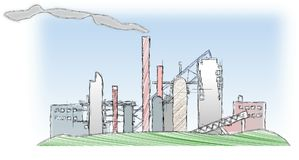 Sketched industrial factory as symbol of pollution Stock Photo
