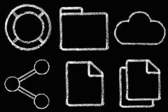 Sketched internet icons set Royalty Free Stock Image