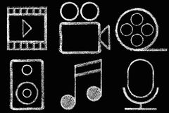 Sketched internet icons set Royalty Free Stock Photography