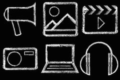 Sketched internet icons set Stock Photos