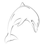 Sketched jumping dolphin. Royalty Free Stock Photography
