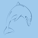 Sketched jumping dolphin. Design template for label, banner or postcard. Vector Royalty Free Stock Images