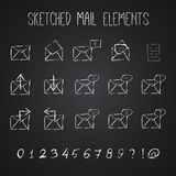 Sketched Mail Elements Set Stock Photo