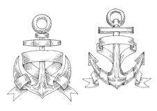 Sketched marine anchors wrapped by ribbon. Royalty Free Stock Photo