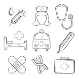 Sketched medical and healthcare icons. With a syringe, nurse, stethoscope, bandages, DNA, ambulance, thermometer, first aid kit and hospital bed isolated on Stock Photography