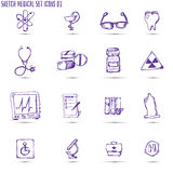 Sketched medical icon set Royalty Free Stock Photography
