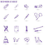 Sketched medical icon set Royalty Free Stock Photos