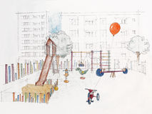 Sketched  of outdoors children's playground Stock Photo