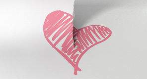 Sketched Pink Heart Torn In Two Royalty Free Stock Photography