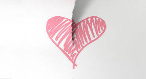 Sketched Pink Heart Torn In Two Stock Photography